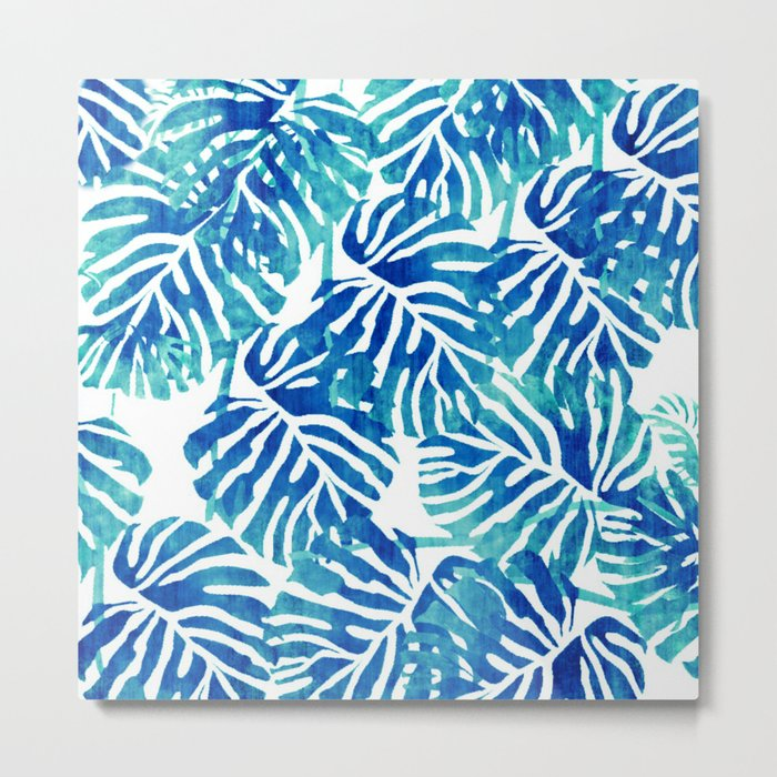 Tropical Leaves – Blue Abstract Metal Print