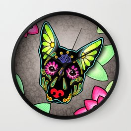 German Shepherd in Black - Day of the Dead Sugar Skull Dog Wall Clock