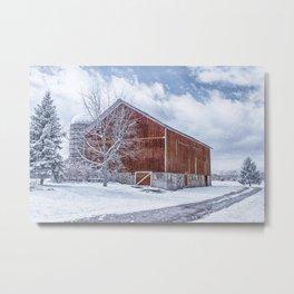 Snowing at the Farm Metal Print