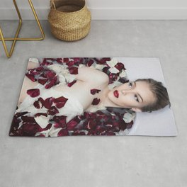 Rose Petals and Porcelain Beauty; blond model in vintage bathtub color photograph - photographs - photography wall decor Rug