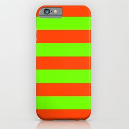 Bright Neon Green and Orange Horizontal Cabana Tent Stripes iPhone Case