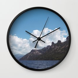 mountains from the lake of meliquina Wall Clock
