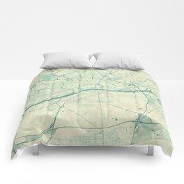 Frankfurt Map Blue Vintage Comforters