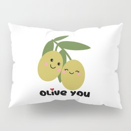 Olive You | I Love You | Valentine's Day Heart Pillow Sham