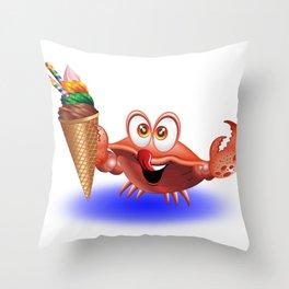 Crab Cartoon with Ice Cream Throw Pillow