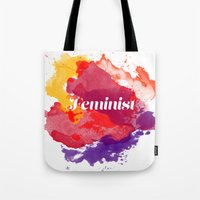 feminism Tote Bags featuring Feminism Watercolor by Pia Spieler