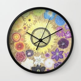Rainbow of flowers Wall Clock