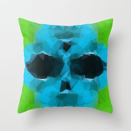 psychedelic skull art geometric triangle abstract pattern in blue and green Throw Pillow