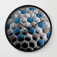 honeycomb Wall Clocks featuring Honeycomb by amanvel