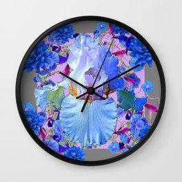 PASTEL IRIS & BLUE  FLOWERS  GREY PATTERNS ART Wall Clock
