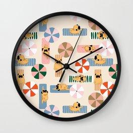 Pug Beach Yoga Wall Clock