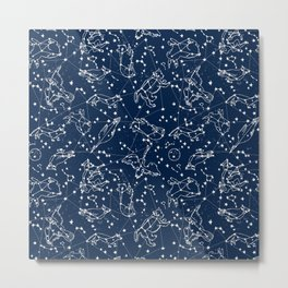 Constellations animal constellations stars outer space night sky pattern by andrea lauren Metal Print