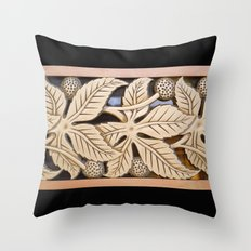 Bronze Art deco leaves Throw Pillow