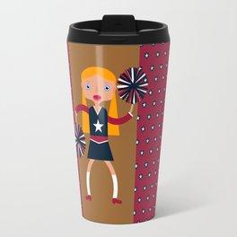 American Cheerleader with pom-poms Travel Mug