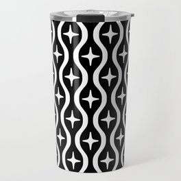 Mid century Modern Bulbous Star Pattern Black and White Travel Mug