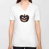 pumpkin V-neck T-shirts featuring Pumpkin by Sabrina
