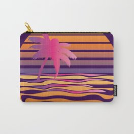 Retro striped sun and palm Carry-All Pouch