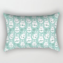 Easter Egg Bunny Pattern - Green Rectangular Pillow