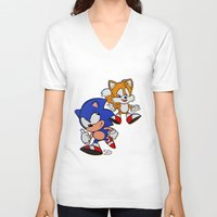 sonic V-neck T-shirts featuring Sonic & Tails by Jinny Hinkle