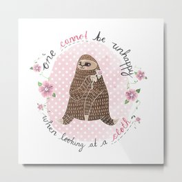 One cannot be unhappy when looking at a sloth Metal Print