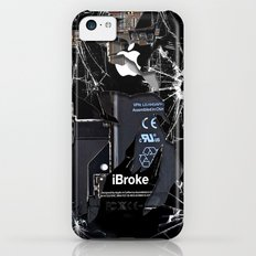 Broken, rupture, damaged, cracked black apple iPhone 4 5 5s 5c, ipad, pillow case and tshirt iPhone 5c Slim Case