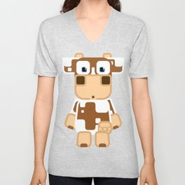 Super cute cartoon cow in brown and white - a moo-st have design for  cow enthusiasts! Unisex V-Neck