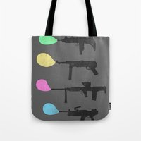 guns Tote Bags featuring Bubble Guns by Tobe Fonseca