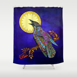 Electric Crow Shower Curtain