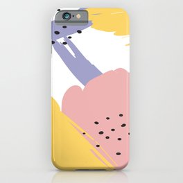 Colorful watercolors brushstrokes and dots iPhone Case