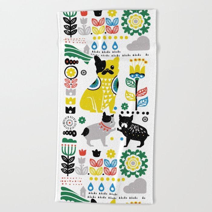 Scandinavian French Bulldog Beach Towel