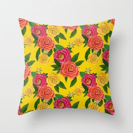 Yellow, Pink and Coral Peony and mistletoe floral Throw Pillow