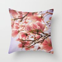 magnolia Throw Pillows featuring Magnolia  by KunstFabrik_StaticMovement Manu Jobst