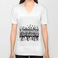 notebook V-neck T-shirts featuring School notebook 3 by Eva Bellanger