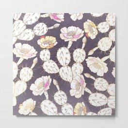 Modern white gold mauve lavender catus floral Metal Print
