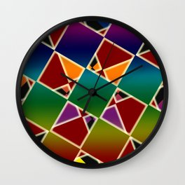 Tiled Colorful Squared Pattern Wall Clock
