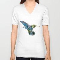 hummingbird V-neck T-shirts featuring Hummingbird by madbiffymorghulis