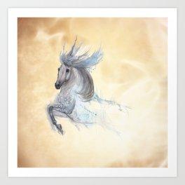 Dancing white horse Art Print