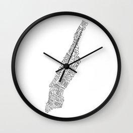 Manhattan - Hand Lettered Map Wall Clock