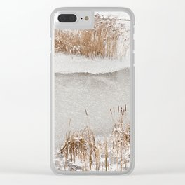 Typha reeds winter season Clear iPhone Case