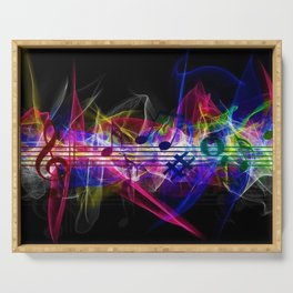 Colorful musical notes and scales artwork Serving Tray