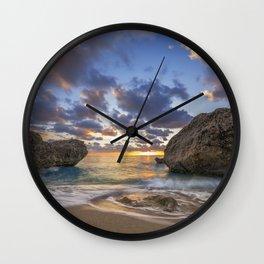 Kalamitsi beach at sunset long exposure Wall Clock