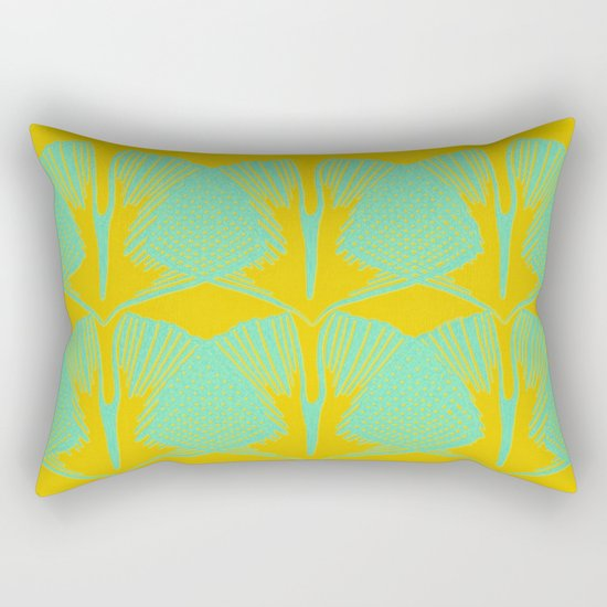 ginkgo pattern in deep yellow and turquoise Rectangular Pillow