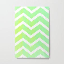 Patterned Chevron (Lime) Metal Print