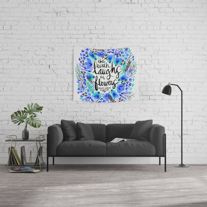 The Earth Laughs in Flowers – Turquoise & Blue Wall Tapestry