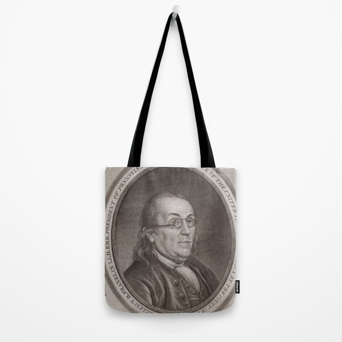 Vintage Portrait of Ben Franklin (1787) Tote Bag