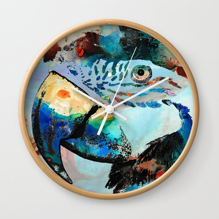 Wild Parrot Art By Sharon Cummings Wall Clock
