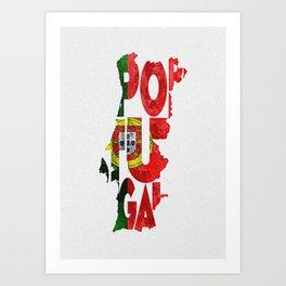 Portugal Typographic Flag / Map Art Art Print