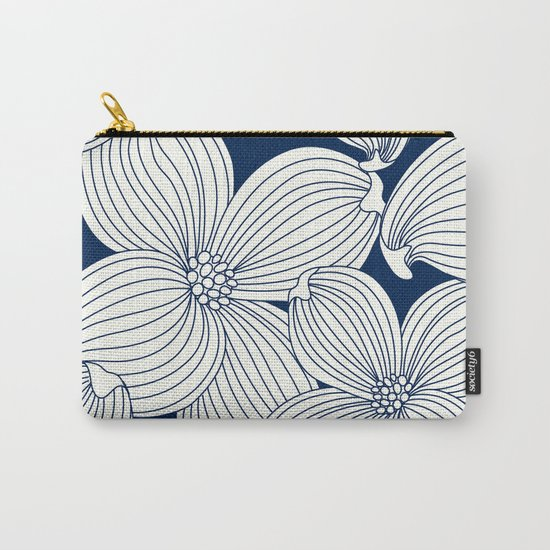 Dogwood Big Linear Floral: Navy Ivory Carry-All Pouch
