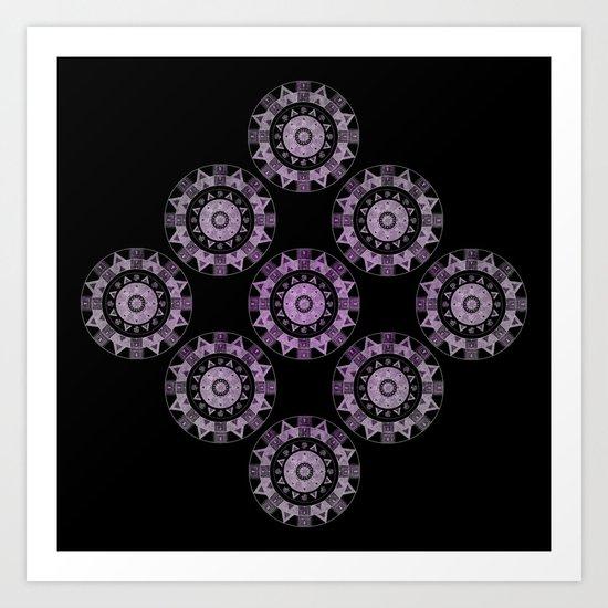 Ethnic mandalas in purple Art Print