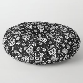 Black and White Day of the Dead Sugar Skulls Floor Pillow